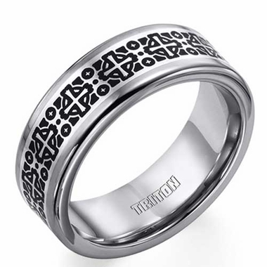 Triton Tungsten Carbide Cross Ring with Sterling Silver Inlay