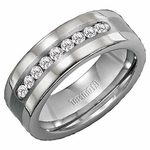 Triton Tungsten Carbide Diamonds Band with 18K White Gold Inlay  (1/2 ctw)