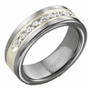 Triton Tungsten Carbide Diamonds Band with Sterling Silver Inlay (1/2 ctw)