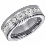 Triton Tungsten Carbide Diamonds Band with Sterling Silver Inlay (1 ctw)