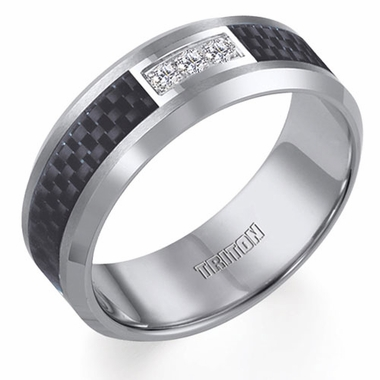 Triton Tungsten Carbide Diamonds Ring with Carbon Fiber Inlay