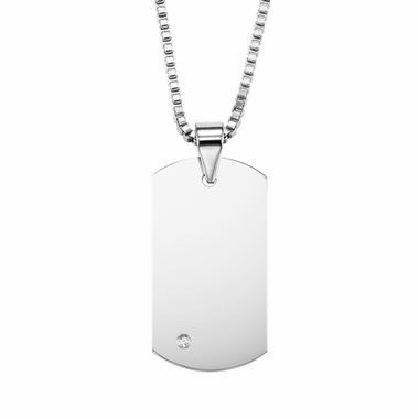 Triton Tungsten Carbide Dog Tag with Diamond