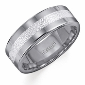 Triton Tungsten Carbide Ring with Hammered Silver Inlay