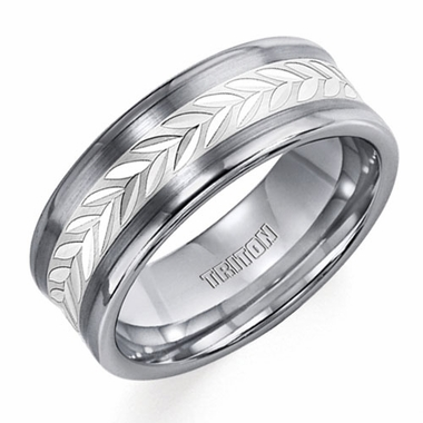 Triton Tungsten Carbide Ring with Silver Leaflets Inlay