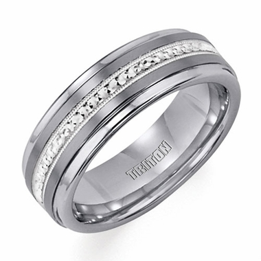Triton Tungsten Carbide Ring with Silver Milgrained Center