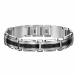 Triton Two-Tone Stainless Steel Link Bracelet with Textured Center