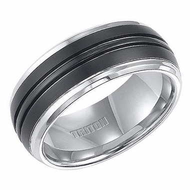 Triton Two Tone Tungsten Carbide Ring with Black Center Groove