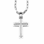 Triton White Tungsten Carbide Cross Pendant with Diamonds