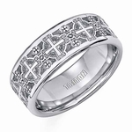 Triton White Tungsten Carbide Ring with Laser Engraved Crosses