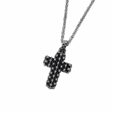 Triton Woven Cast Steel Cross Pendant with Black Antique Finish