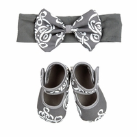 Baby Bella Maya Booties and Headband Gift Set Royal Mist