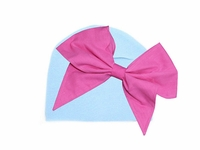Baby Blue Cotton Hatwith Candy Pink Bow-Rae-Mi