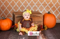 Baby Thanksgiving Rhinestone Turkey Brown Orange Yellow Bodysuit Pettiskirt and Headband