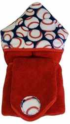 Baseball Hooded Towel on Red With Washcloth