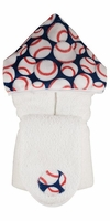 Baseball Hooded Towel on White-