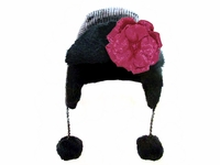 Black Couture Winter Wimple with Sequins Raspberry Rose