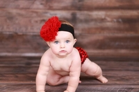 Black Soft Headband with Red Lace Rose