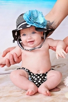 Black White Dot Sun Hat with Teal Large Rose- Infant Sun hats- Baby Girl Sun Hat