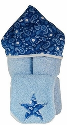 Blue Bandanna Hooded Towel on Blue