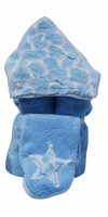 Blue Giraffe Hooded Towel on Blue