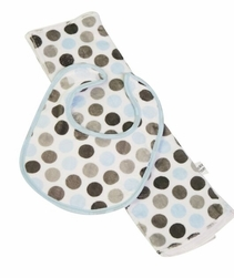 Blue & Grey Dot Bib & Burp Set