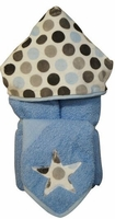 Blue & Grey Dot Hooded Towel w/washcloth