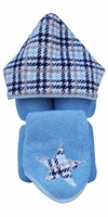 Blue Houndstooth Hooded Towel on Blue