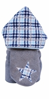 Blue Houndstooth Hooded Towel on Grey
