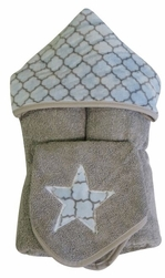 Blue Quarterfoil Hooded Towel on Grey w/washcloth