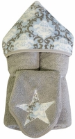 Blue Vine Damask Hooded Towel on Grey w/washcloth