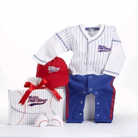 Boys 3 Piece 'Big Dreamzzz' Baseball All- Star Layette Gift Set with Bodysuit, Hat, and Booties- 0-6 Months