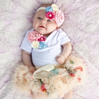 Sweetheart Rose Multi Floral  3 Piece Tutu Set- Newborn Baby Girl Gift Sets