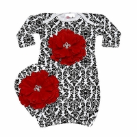 Bundle Of Love Black Damask Red Peony Baby Gown Set