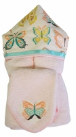 Butterfly Hooded Towel on Pink w/washcloth