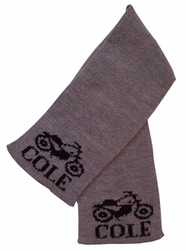 Butterscotch Blankee Personalized Scarf with Name and Vintage Motorcycle