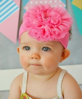 Candy Pink Soft Headband with Candy Pink Lace Rose