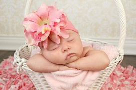 Candy Pink Soft Headband with Candy Pink Small Peony