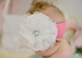 Candy Pink Soft Headband with White Lace Rose