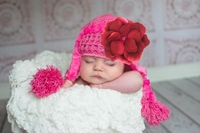Candy Pink Winter Wimple Hat with Raspberry Small Rose