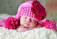 Jamie Rae Candy Pink Winter Wimple Hat with Sequins Raspberry Rose