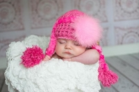 Jamie Rae Candy Pink Winter Wimple Hats with Candy Pink Large Marabou