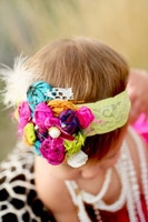 Carnival Headband with Rosettes and Feathers Girls Headband