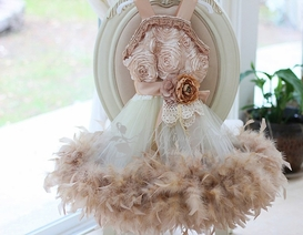 Fabulous Champagne Girls Feather Dress