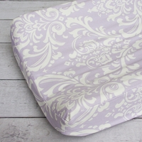Changing Pad Cover - Lavender Sweet Lace Damask-