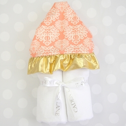 CHLOE'S CORAL DAMASK HOODED TOWEL