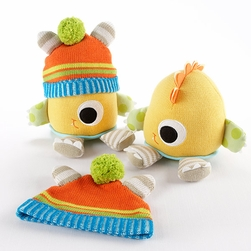 "Clyde the Closet Monster"" Knit Baby Hat and Plush Toy Gift Set"
