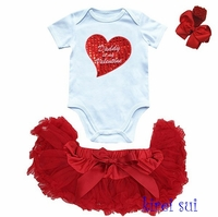 Daddy Is My Valentine  Newborn Baby Girl Tutu Set