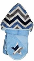Denim Chevron Hooded Towel on Blue