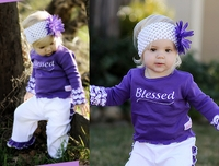 Faith Baby Long Sleeve Ruffled 'Blessed' Top GRAPE