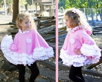 Faith Baby Pink and White Ruffled Fleece Hooded Poncho